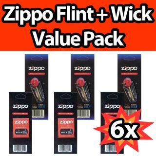 Zippo Lighter Wick Flint Genuine Value Pack 3X Wicks 3X Flint Set