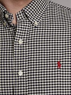 Polo Ralph Lauren Long sleeved slim fitted gingham shirt Black