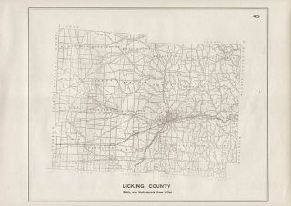 Licking County Ohio Authentic Antique Map Newark Genuine 102 Years Old