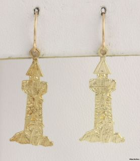 Lighthouse Dangle Earrings   14k Yellow Gold Textured Seagulls Beach