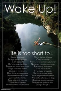 WAKE UP, LIFE IS TOO SHORT Inspirational Motivational Poster (Bungee