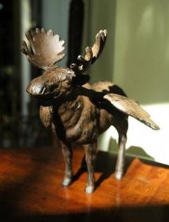 Rustic Winged Moose Statue Cherub Angel Alaska Old Cast Iron Chic