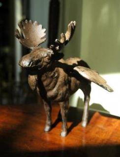 Rustic Winged Moose Statue Cherub Angel Alaska Old Cast Iron Chic