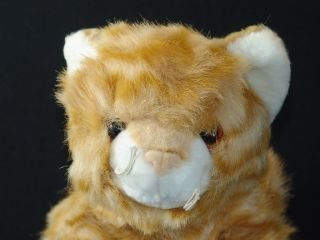 Lifelike FAO Schwarz Orange Tiger Tabby Cat Striped Plush Stuffed