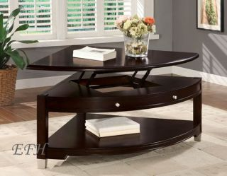 New Casual Pie Shaped Lift Top Walnut Wood Coffee Table