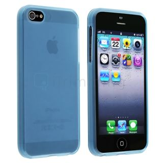 Ultra Thin Slim Clear Light Blue TPU Soft Case Skin Cover for iPhone 5