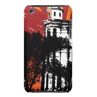 Orange and Burgundy Architecture Grunge Barely There iPod Cases