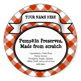 Personalized Canning Jar/Lid Label Pumpkin Gingham Sticker