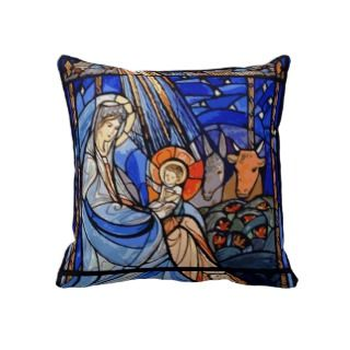 Stained Glass Style Nativity Throw Pillow