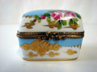 Treasure Perfume Chest Gold Rose Painted 6 Bottles French Limoges Box