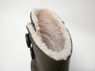 NIB UGG AUSTRALIA LILLIE WOMENS BROWN LEATHER BOOTS SHEEPSKIN LINED 8