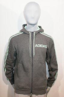 New Adidas Lin FZ Full Zip Hooded Jacket Hoody Sweatshirt Top Grey