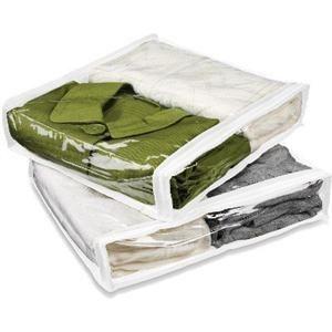 Vinyl Plastic Sweater Clothes Linen Closet Storage Bag 2 PC