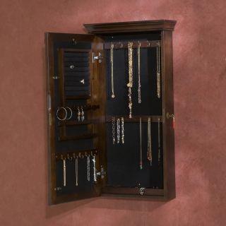 Vivienne Espresso Wall Mount Locking Jewelry Armoire Mirror Holly
