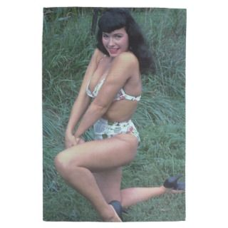 Bettie Page Bashful in the Grass Vintage Pinup Kitchen Towels