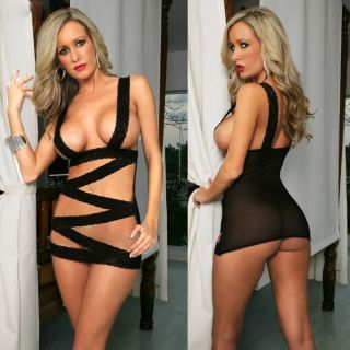 Sexy Lingerie Black Lace Belts Cross Mini Dress Babydoll Stripper Wear