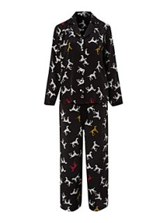 Timney Dog print silk pj set Black   House of Fraser
