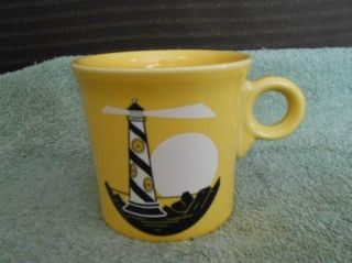 Laughlin Fiesta Ware Yellow Sunflower Light House Coffee Cup Mug USA