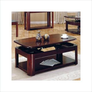 Lidya Rectangular Cherry Wood Lift Top w Casters Coffee Table