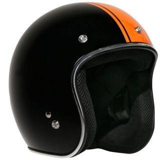 Outlaw Rally Racing Orange Stripe Open Face Helmet Large