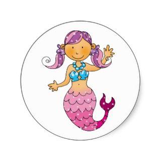 Cute pink mermaid sticker
