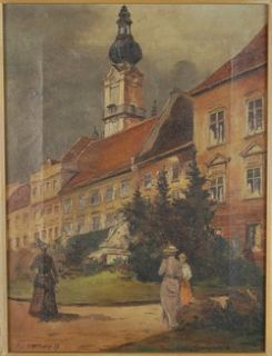 Antique Austrian Oil Painting Linz Promenade Landhaus Tower