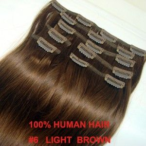 18inch 45cm Clip in Human Hair Extensions Light Brown 6
