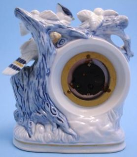 Linden Blue White Porcelain Mantel Clock Blue Jay Bird Flowers