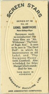 Lionel Barrymore 1936 Godfrey Phillips Screen Stars Tobacco Card 45
