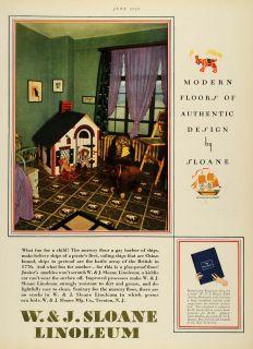 1929 Ad w J Sloane Linoleum Flooring Childrens Room Toys Clara Dudley