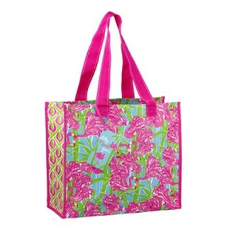 Lilly Pulitzer Market Bag Fan Dance Pink Flamingo Green Recyclable