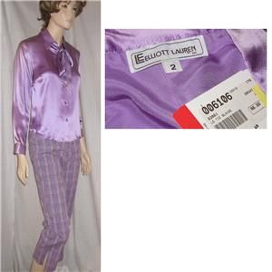 Liquid Silk Lauren Shirt Blouse Wascot in Lilac 2