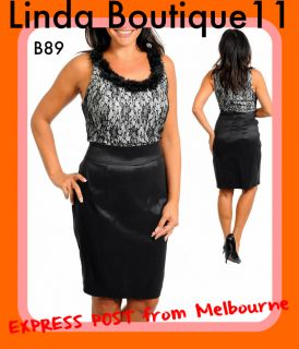 B89 Ladies Black White Race Formal Evening Vintage Party Chic Dress 20
