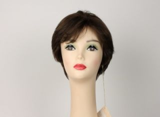 Human Hair Freeda Wig Linda Medium Brown with Highlights Size M