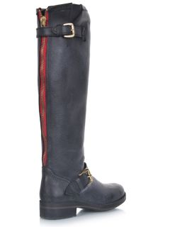 Steve Madden Lindley Women Leather Morotocycle Knee High Buckle Boot