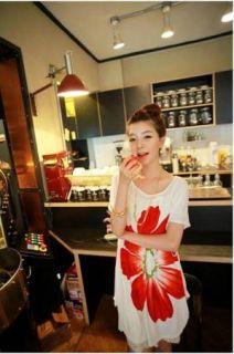 Elegant Woman Flavour Big Waist Grow Flowers Loose T Shirt Dress