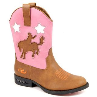 Roper Girls Pink Light Up Heel Cowboy Boots Toddler 8