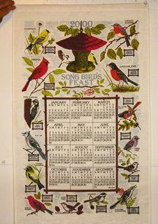 Kay Dee Linen Kitchen Calendar Tea Towels Song Birds Bridge Recipe