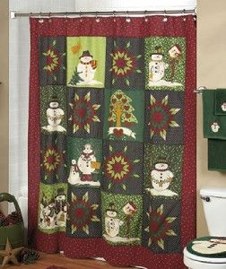 BATHROOM SNOWFLAKE THEME SHOWER CURTAIN, TOWELS AND 3 PIECE RUG SET