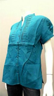 Lino USA Ladies Womens L Linen V Neck Button Down Top Teal Green Pleat