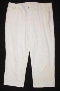 Womens Liz Co Plus Size 20W Stretch White Denim Jean Capris