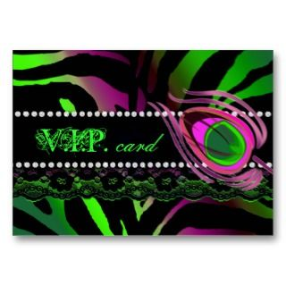 Peacock VIP Card Lace Zebra Lime Pink Business Cards
