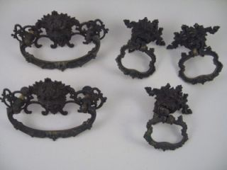 Vintage Metal Lion Head or Gargoyle Drawer Pulls 2 Sizes Hardware