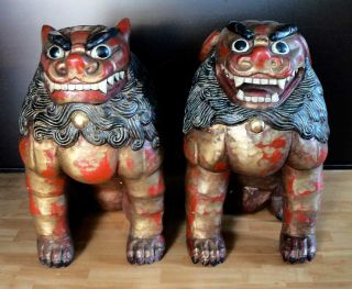 Imperial Guardian Temple Lions Foo Dog Statue Carving Sculpture