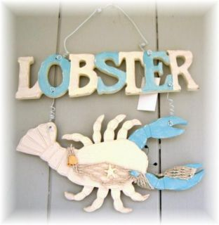 Lobster Wood Sign Nautical Beach Wall Decor Aqua Blue Wooden Seafood