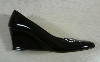 LK Bennett Black Patent Leather Wedge Heels Shoes 37 UK 4