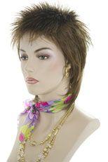 Liza Minelli Short, Spikey, Razor Cut shag style Blonde Red Straight