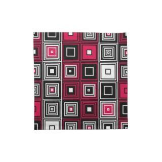 Red White black retro mod pattern Cloth Napkin