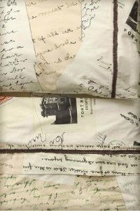 Anthropologie Love Letters Sheet Set King Size 2 Pillowcases Free SHIP