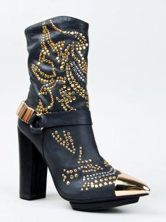 Jeffrey Campbell Lisa Marie Black Gold Studded Leather Cowboy Boot Sz